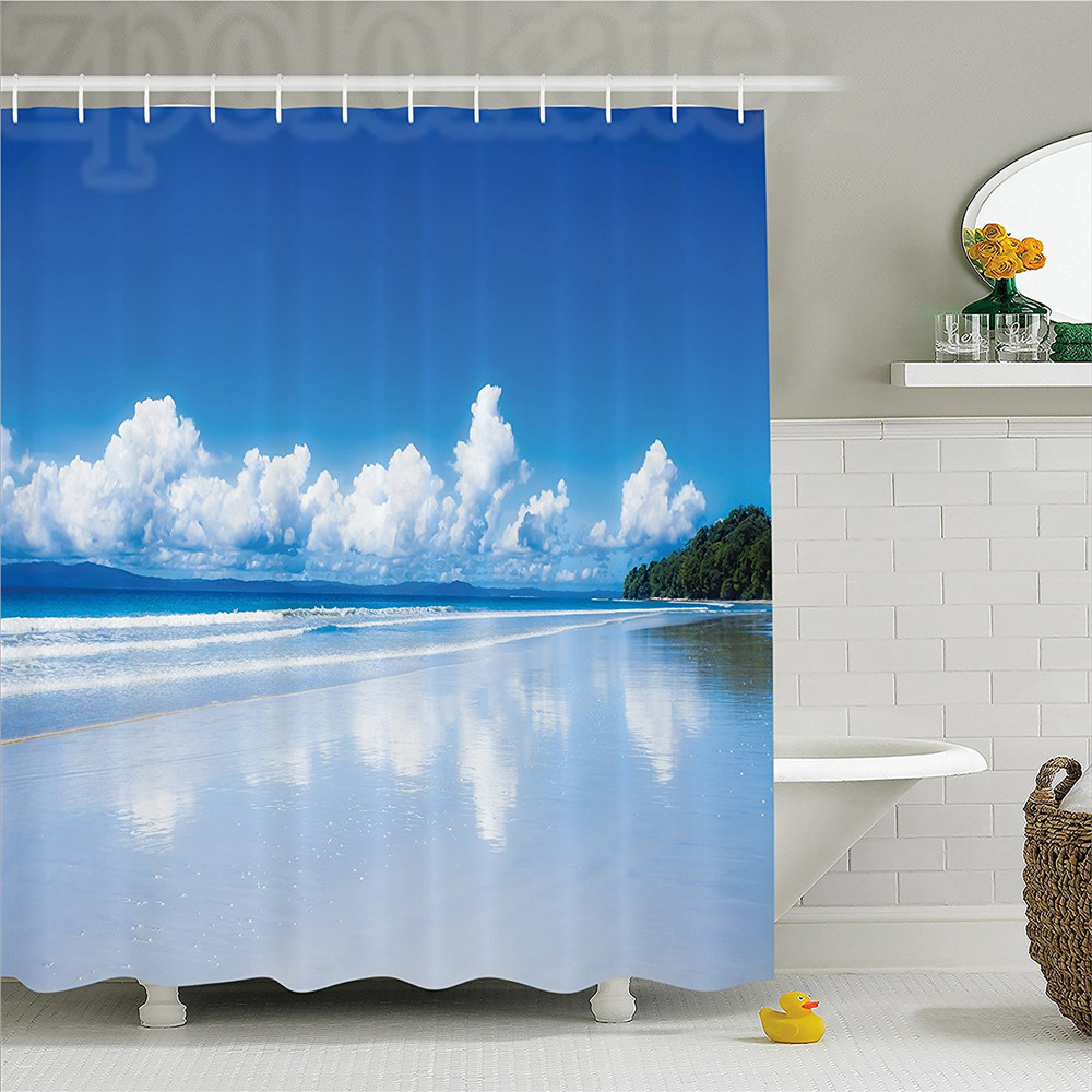 Lake House Decor Shower Curtain Paradise Tropical Island Landscape with Clouds Dream Lands Nature Image Bathroom Decor Set with