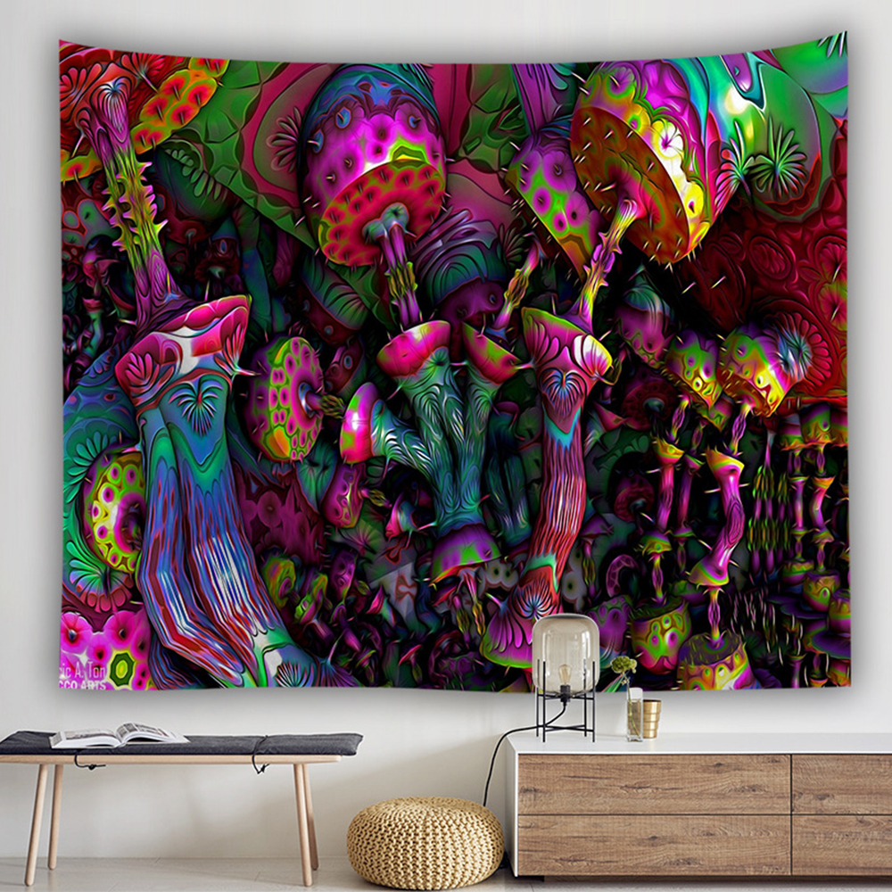 Image 3 - bohemian wall tapestry hanging huge mushroom house fairyland psychedelic tapestriws home decor-in Tapestry from Home & Garden