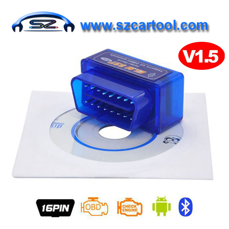 Interface MINI ELM327 Bluetooth v1.5 ELM 327 Version 1.5 OBD2 / OBDII for Android Torque Car Code Scanner Free Shipping elm327 d2 obd2 obdii bluetooth adapter auto scanner torque android