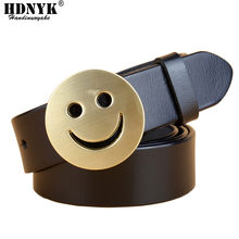 New Arrival Smiling Face Buckle Belt Strap Genuine Leather Casual All match Women Brief Belt Womens Strap Belt Students Belt