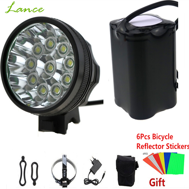 20000 LM 10x CREE XML T6 LED Cycling Bicycle Fishing HeadLamp bicicleta Lamp Light 8.4V 18650*6 + Reflective stickers sitemap 10 xml