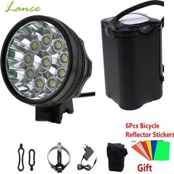 20000 LM 10x CREE XML T6 LED kolarstwo rowerów reflektor wędkarski bicicleta lampa światła 8.4V 18650*6 + odblaskowe naklejki