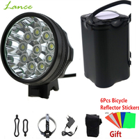 20000 LM 10x CREE XML T6 LED Cycling Bicycle Fishing HeadLamp bicicleta Lamp Light 8.4V 18650*6 + Reflective stickers