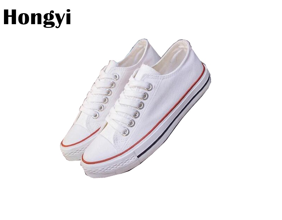 Hongyi Women shoes 2018 new white canvas shoes female spring and summer lace up casual shoes woman students women Flats