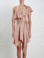 Обёрточная бумага мини платье из шелкового атласа нерегулярные рябить одно плечо спинки пикантные модные однотонные Винтаж Vestido с завязыва