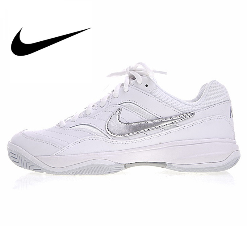 Nike COURT LITE Women's Tennis Shoes Women's Comfort Original Breathable Outdoor Shoes White Silver Leather Rubber 845048 100