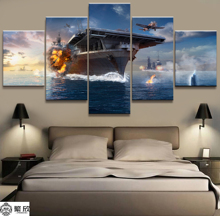 Home Decor Modular Canvas Picture 5 Piece Video Game World of Warships Painting Poster Wall For Wholesale