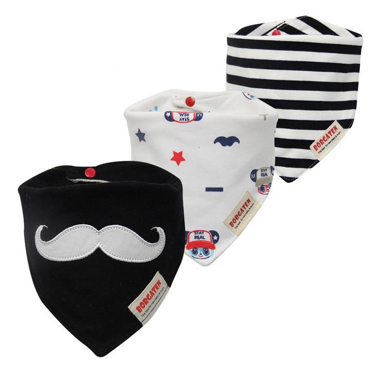 3pc/lot Newborn Baby Boys And Girls Bibs Cartoon Brand 100% Cotton Baby Towel Bandanas Scarf Children Cravat Infant Kids Scarf