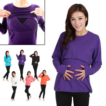Long Sleeve Leisure Wear Breast Feeding Nursing font b Maternity b font font b Clothes b