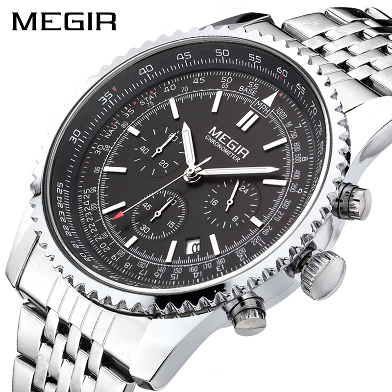 MEGIR Original Men Watch Stainless Steel Quartz Watches Men Top Brand Luxury Clock Men Relogio Masculino Erkek Kol Saati 2008