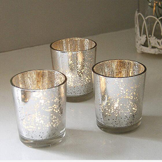 Cup Candle Holders Home Decoration Candlestand Silver Gold Blue Romantic Glass Candle Cups Glass