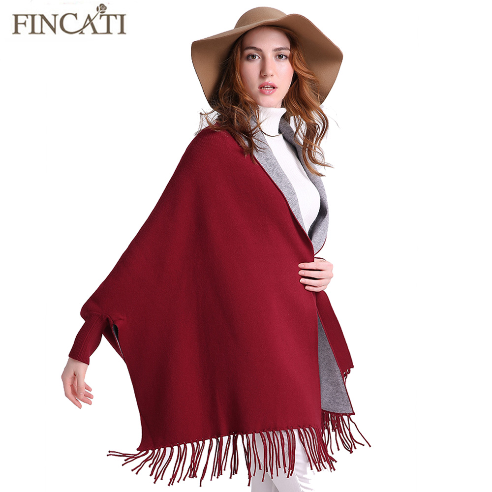 New Arrival 2017 Autumn Winter Women's Cashmere Contrast Color Reversible Wear Ponchos Capes Pashmina Tassels Thick Shawl Scarf