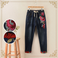 2018 Sale New Spring Winter Folk Embroidered Flowers Roll Up Hems One Side Print Pants Plus Size Jeans Chinese Style Trousers