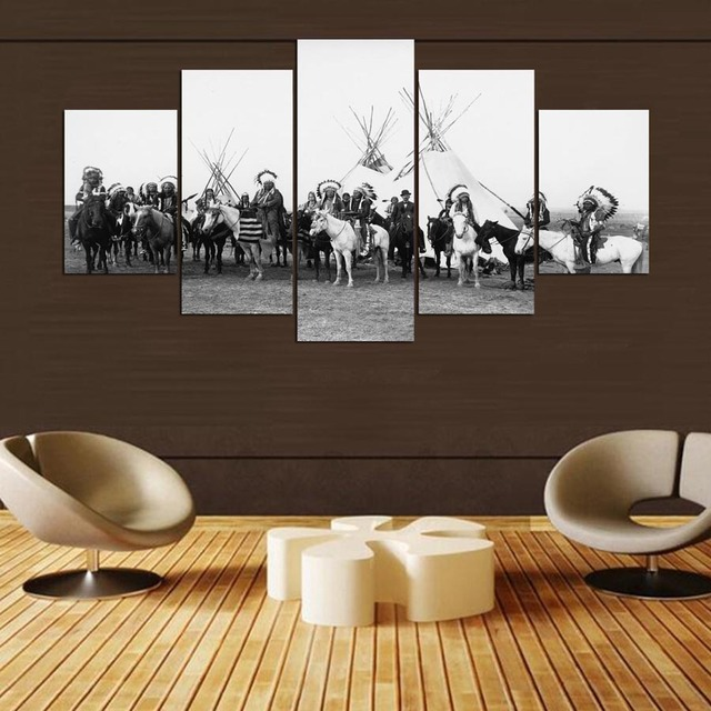 5 panel Modern native americans black and white hd Art print canvas art wall framed paintings for living room ny-1094