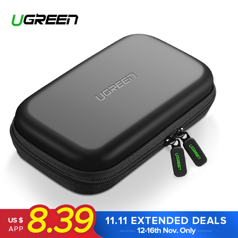 Ugreen Power Bank Case Hard Case Box for 2.5 Hard Drive Disk USB Cable External Storage Carrying SSD HDD Case bsc35 05 3 5 inch shockproof carrying hard drive protective storage case box with lock 5 bit aluminum hard disk protection box