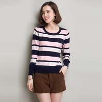 New Women Spring And Autumn Spell Colors Round Neck Cashmere Blend Tripe Wild Fashion Casual Sweaters