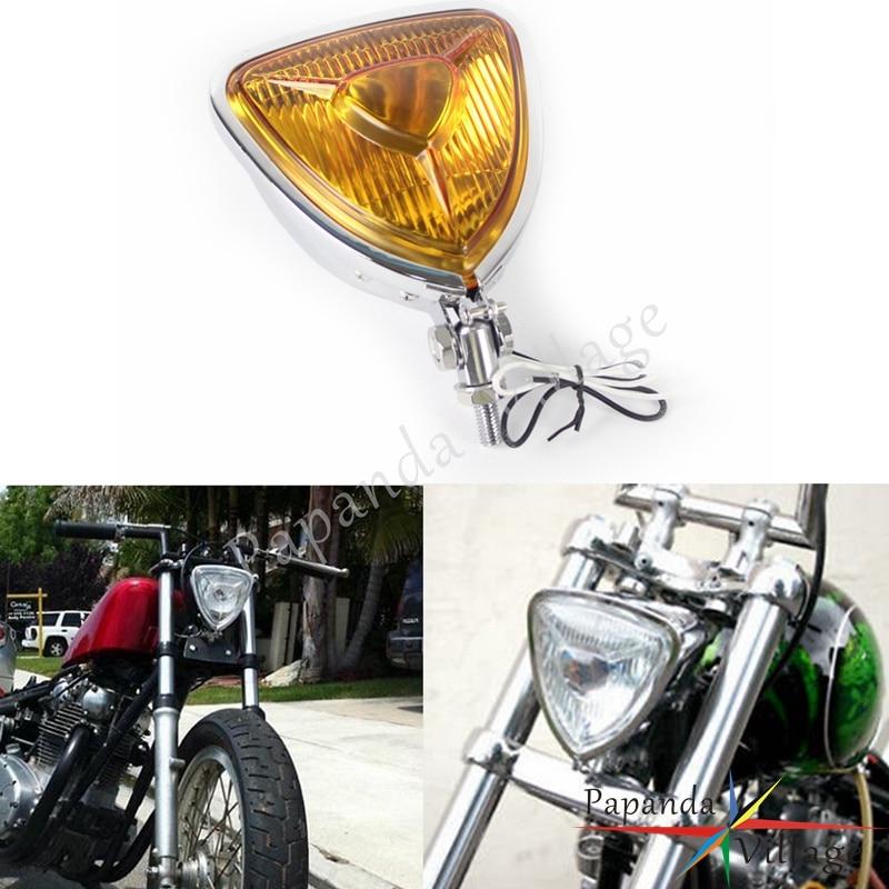 Single Chrome Custom Triangle Motorcycle Headlight Streetfighter Cafe Racer