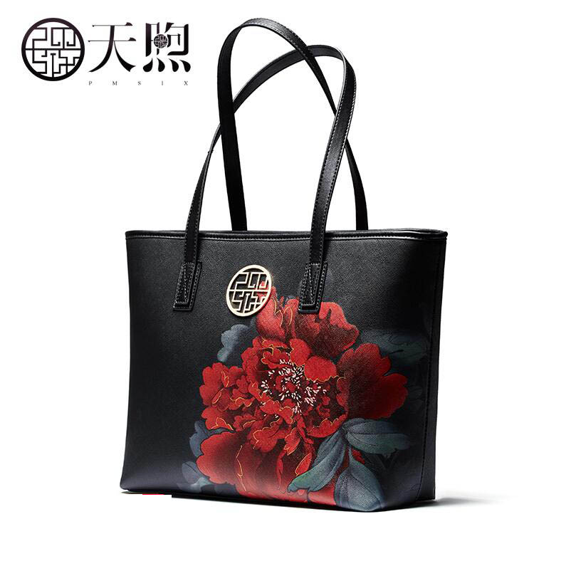 Pmsix2018 high-quality luxury fashion new new lady commuter printing simple wild shoulder hand large capacity bag leisure tote b pmsix2018 high quality luxury fashion new high grade leather ethnic embroidery handbags embroidered bag large shoulder bag