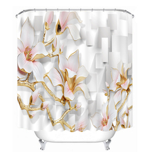 Europe Upscale Carved Flowers Pattern 3D Shower Curtains Waterproof Thickened Bath Curtains Bathroom Hooks for Home