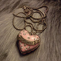famous brand zinc alloy retro fashion Pink Heart shape Pendant Necklace can open female long sweater chain girlfriend gift