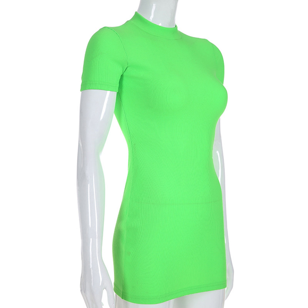 Summer 2019 Fashion Women Skirts Turtleneck Neon Green Skirt Short Sleeve Skinny Mini Skirts Sexy Dress Party Vestidos femme in Skirts from Women 39 s Clothing