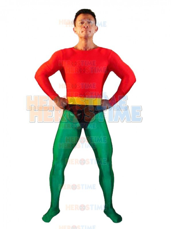 Red & Green Spandex Aquaman Superhero Costume Adult Halloween Cosplay Costume Hot Sale Show Zentai Suit Free Shipping