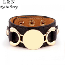 Rainbery 2018 Hot Selling Monogram Leather Cuff Bracelet Pulseras 3 Row Gold Color Multicolor Leather Bracelet For Women Men