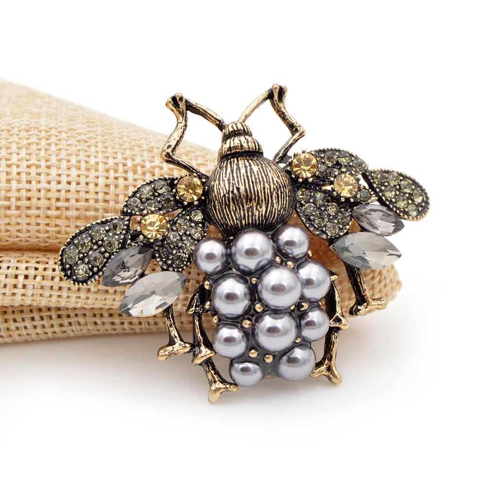 Cindy Xiang Baru 3 Warna Pilih Mutiara dan Berlian Imitasi Lebah Besar Bros untuk Wanita Vintage Fashion Perhiasan Serangga Pin hadiah