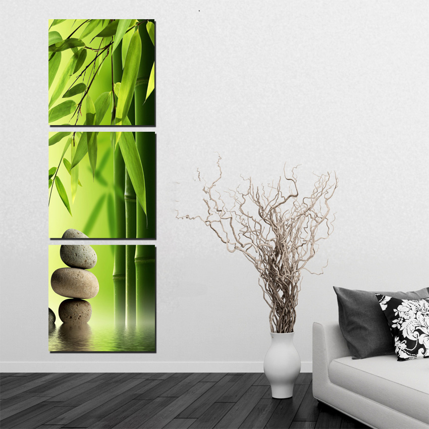 3 pieces set bamboo painting on wall feng shui canvas painting printed green landscape art. Black Bedroom Furniture Sets. Home Design Ideas