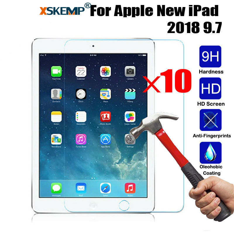 XSKEMP 10Pcs/Lot 9H Hardness Tablet Tempered Glass For Apple New iPad 2018 9.7 Anti-Scratch LCD Screen Protector Protective Film
