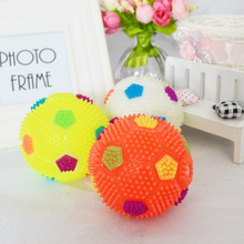 Silicone  non-toxic materials Toy ball bite sound audible football toy massage cleaning dog toys luminous Football toy