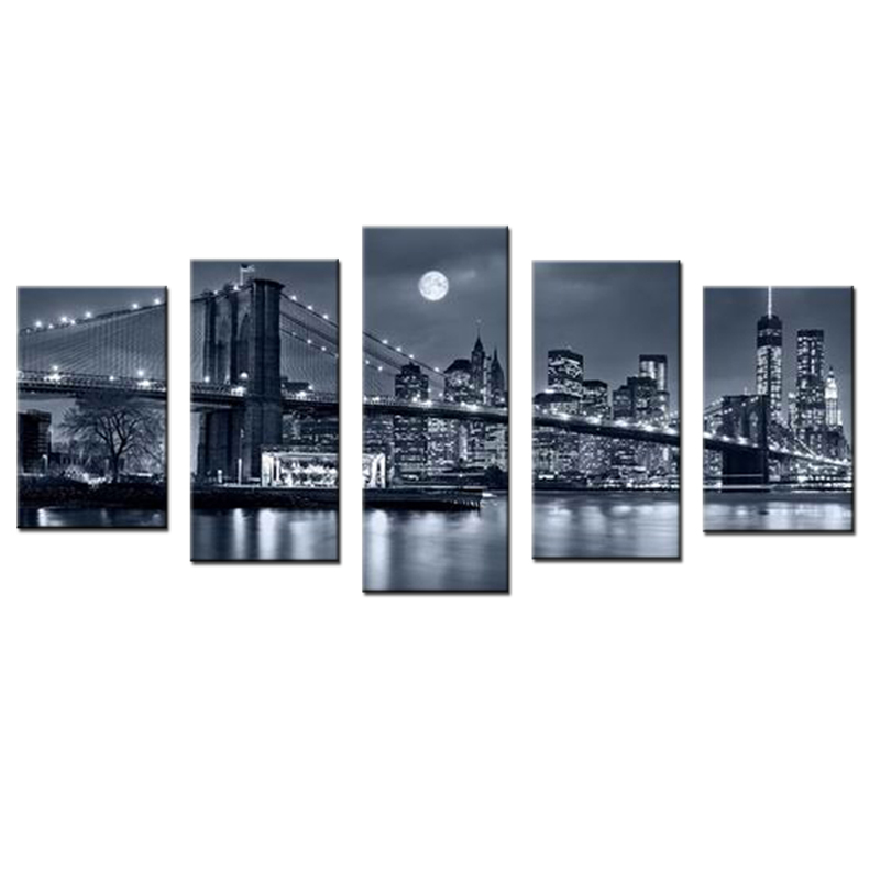 Hitam Putih Cetakan Manhattan Bridge Brooklyn Malam Landscape Canvas - Dekorasi rumah - Foto 2