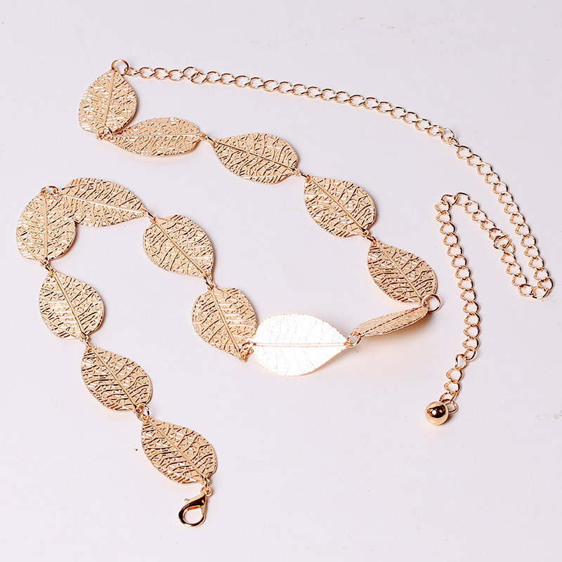 New Women Belt Fashion Metal Brand Luxury Designer Leaves Belt Alloy Waistbelt Decoration Leaf Thin Gold Waist Chain Belt Ladies