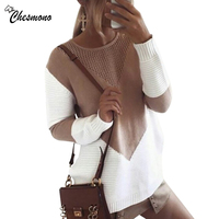 Chesmono Autumn Winter Women Sweaters Pullovers Korean Style Long Sleeve Casual Crop Sweater Slim Solid Knitted
