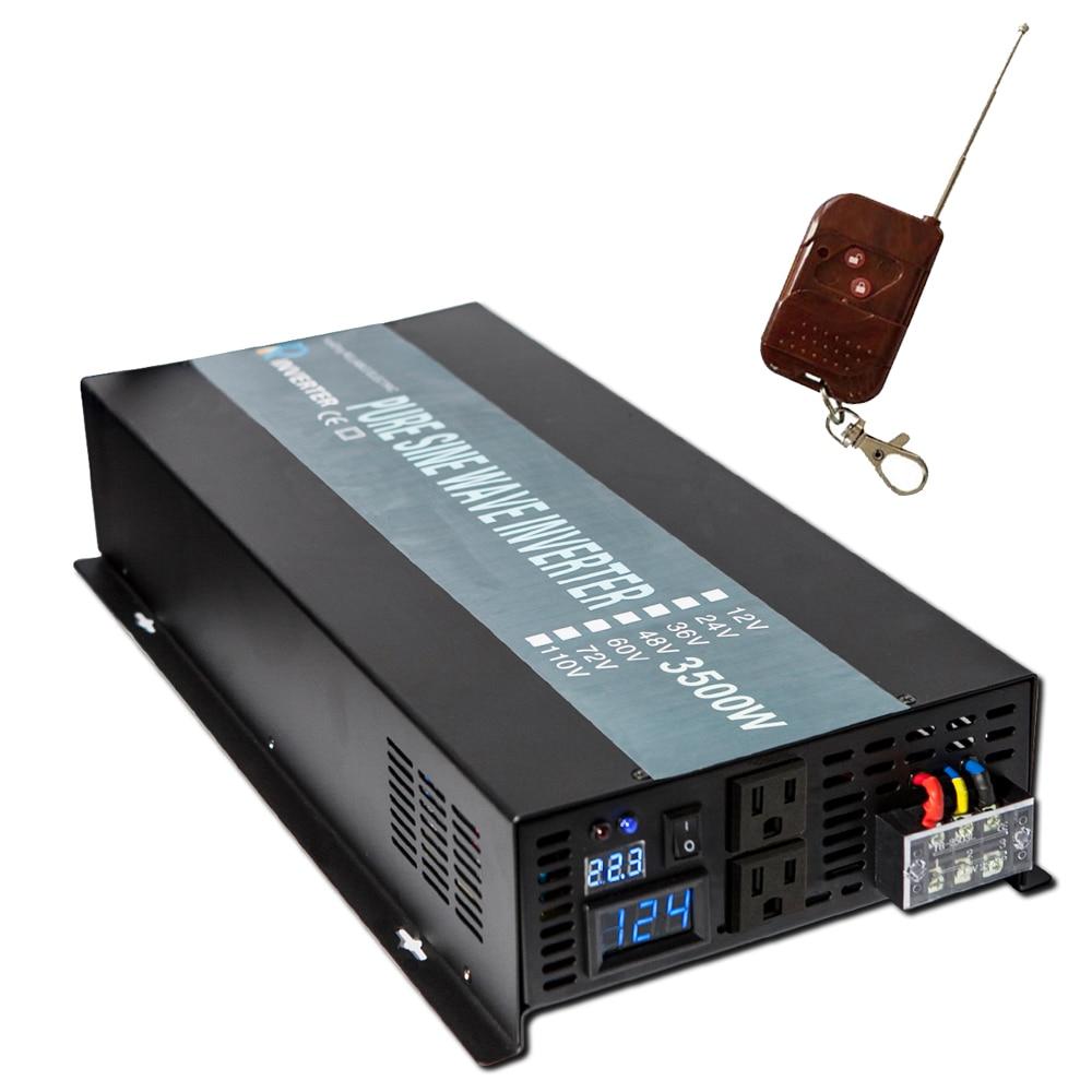 Pur onduleur solaire à onde sinusoïdale 24 V à 220 V 3500 W panneau solaire onduleur batterie externe transformateur 12 V/24/48 V DC à 120 V/240 V AC à distance