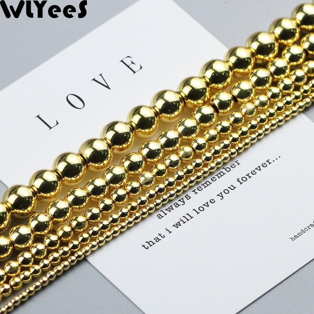 Бисер WLYeeS из натурального камня, 18 золотых Гематитовых бусин, 2, 3, 4, 6, 8, 10 мм, круглые свободные разделители для самостоятельного изготовления ювелирных изделий, браслетов, серег