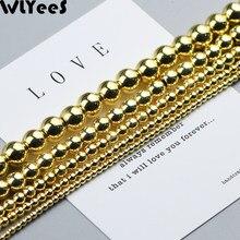 Wlyes-Cuentas de hematita de oro 18 para fabricación de joyas, abalorios redondos espaciador suelto de 2, 3, 4, 6, 8 y 10mm