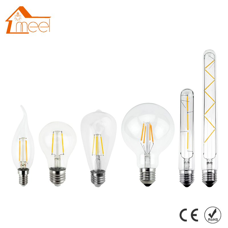 LED Bulb E27 Retro Lamps 220V 240V LED Filament Light E14 Glass Ball Bombillas LED Bulb Edison Candle Light 2W 4W 6W 8W 5pcs e27 led bulb 2w 4w 6w vintage cold white warm white edison lamp g45 led filament decorative bulb ac 220v 240v