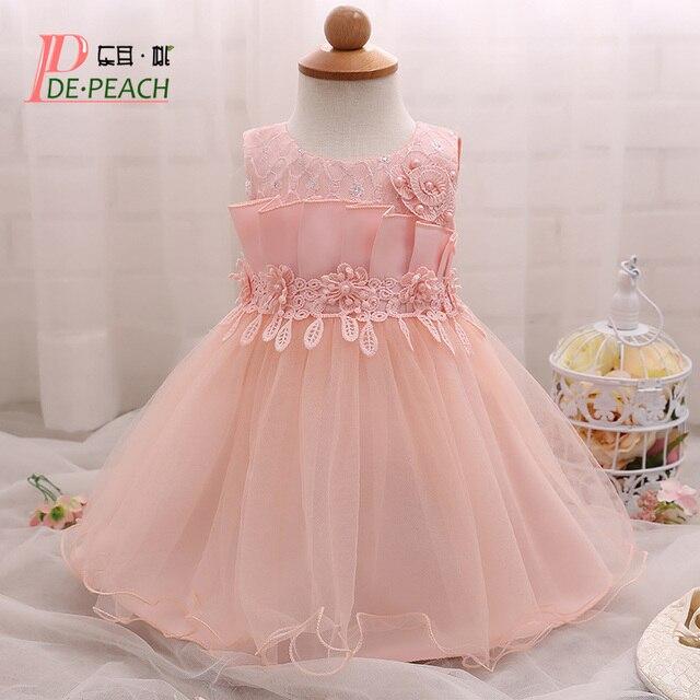 Vestido del bebé flores perlas diseño plisado princesa vestido de ...