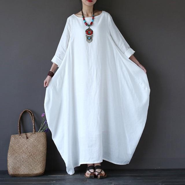 Cotton Linen Summer Dress 2018 Women Oversized O Neck Casual Loose Maxi Long Shirt Dress Vintage 3/4 Sleeve Kaftan Robe Vestidos