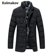 KOLMAKOV 2017 new winter high quality men's fashion Scarf collar warm down jacket parkas,90% white duck down coats men.M-3XL