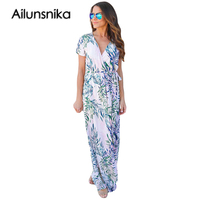 Ailunsnika Women Summer Party Long Dress White Tropical Printed Wrap Short Sleeve V Neck Maxi Dress