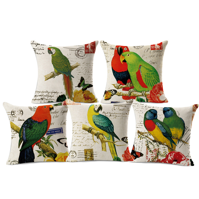 New Fashion 3D Bird Printed Linen Throw Pillow Case Personality Cushion Cover Cute Parrot Cojines Square Almofadas Free Shipping