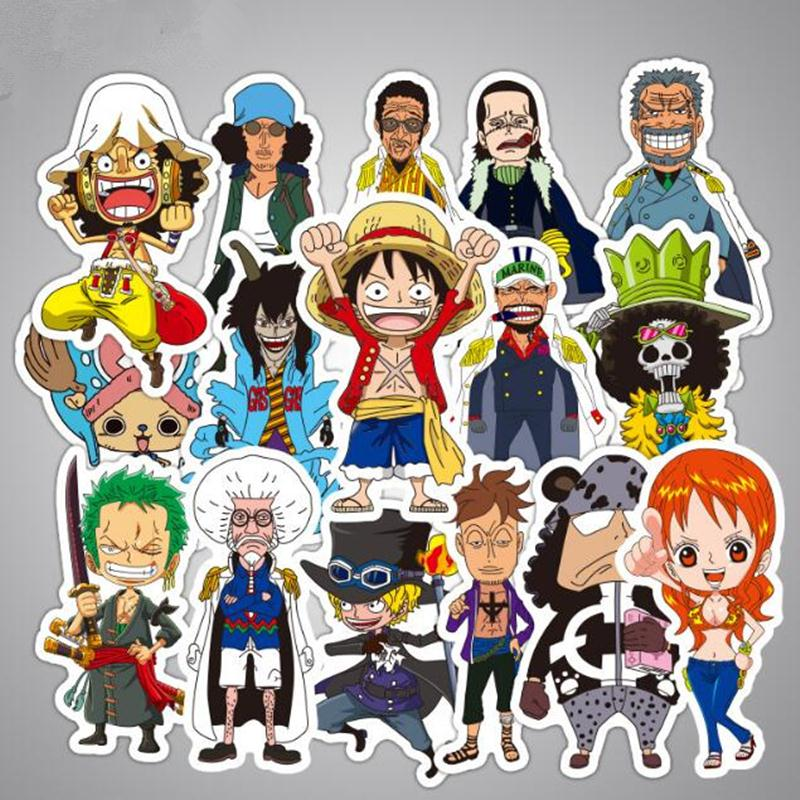 48pcs/Lot One Piece Anime Stickers For Laptop Sticker Decal Fridge Skateboard PVC Luggage Guitar Stickers For Travel Suitcas