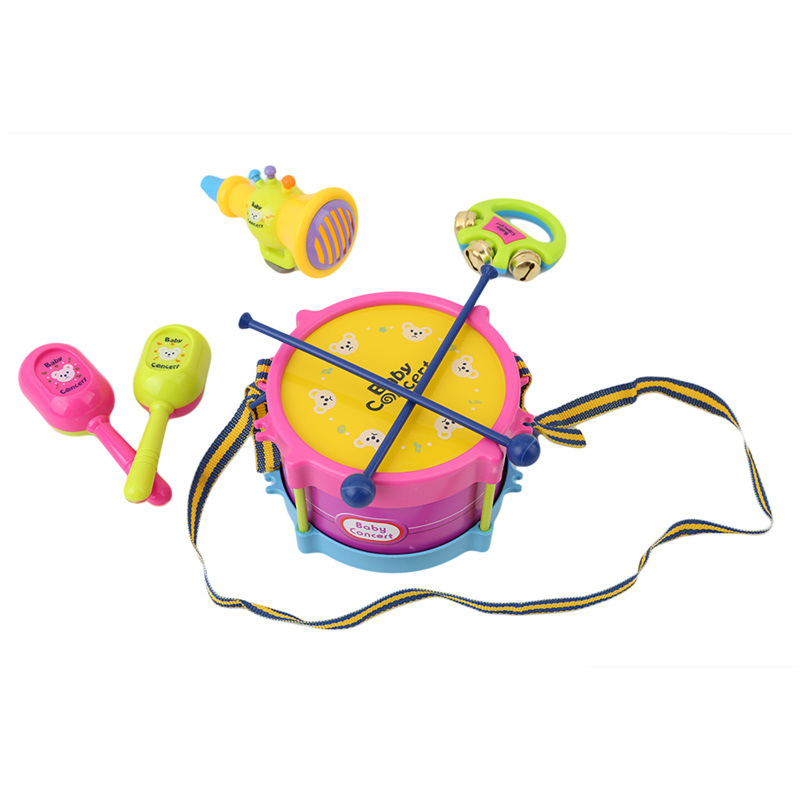 Humor 5pcs Baby Roll Drum Musical Instruments Band Kit Children Toys Gift Set Drum/handbell /trumpet/sand Hammer/drum Stick Fancy Colours Baby & Toddler Toys