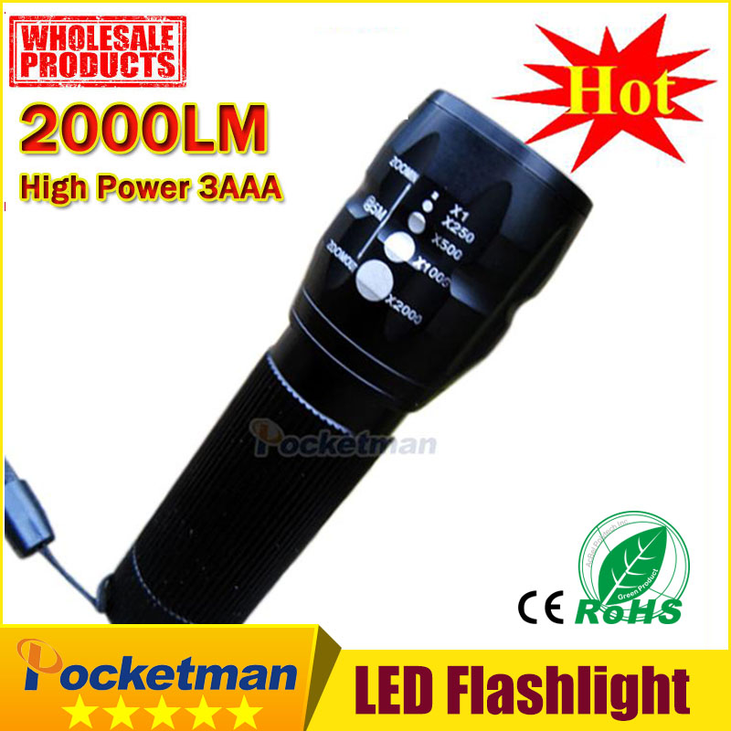 2000Lumens 3 Mode CREE LED military laser led Flashlight Zoomable Focus Torch Free shipping