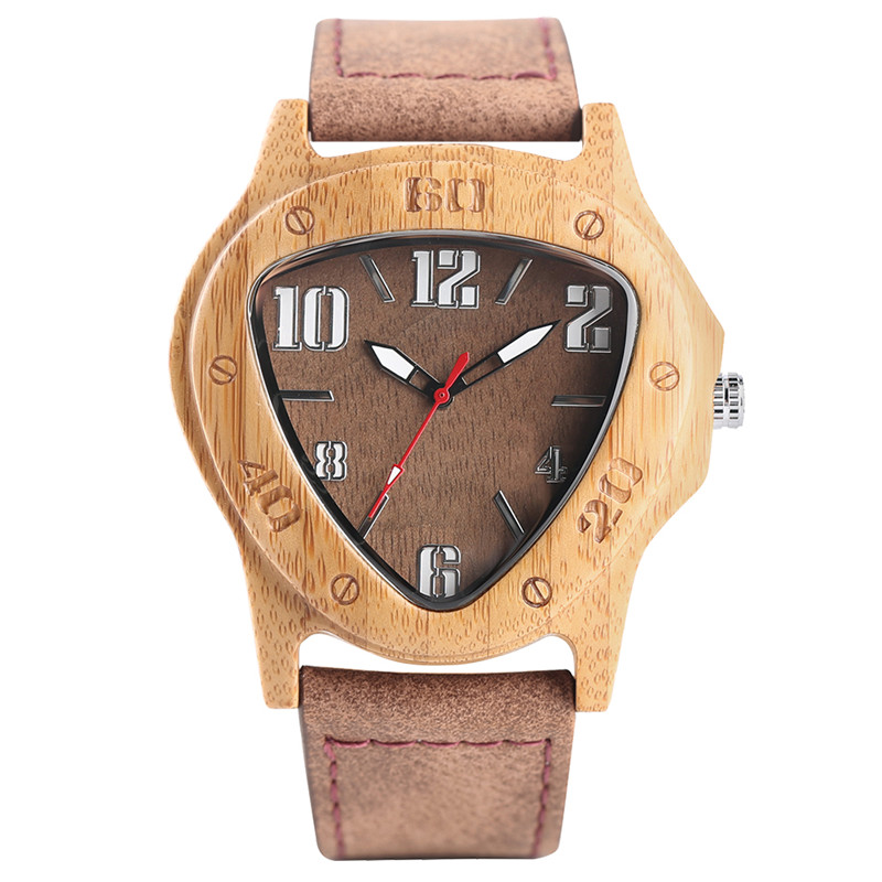 Luxury Men Bamboo Watch Noble Triangle Big Numbers Dial Genuine Leather Strap Stylish Business Male Wooden Quartz Wristwatch hand made mens wooden bamboo quartz watch black genuine leather watchband simple unique modern wristwatch gift for male female