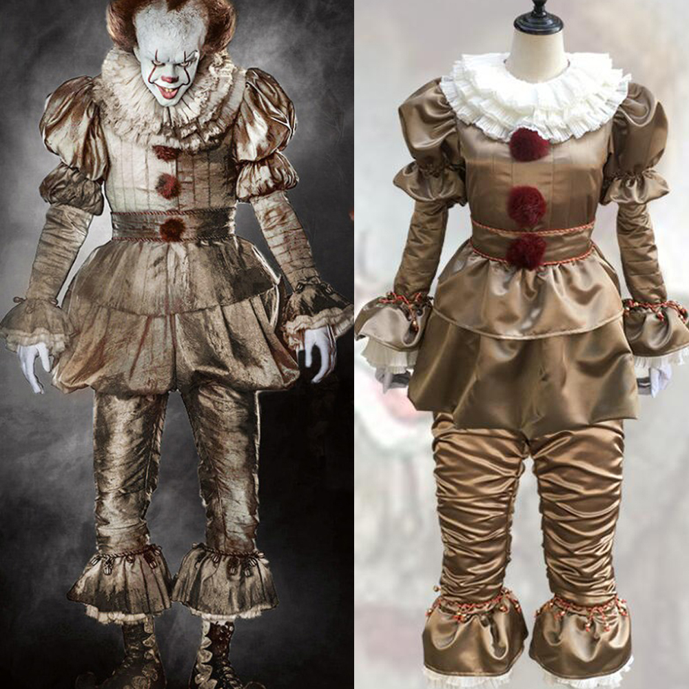 Hot Movie Stephen King's It Pennywise Cosplay Costume Scary Joker Suit Custom Made Fancy Halloween Masquerade Party Prop