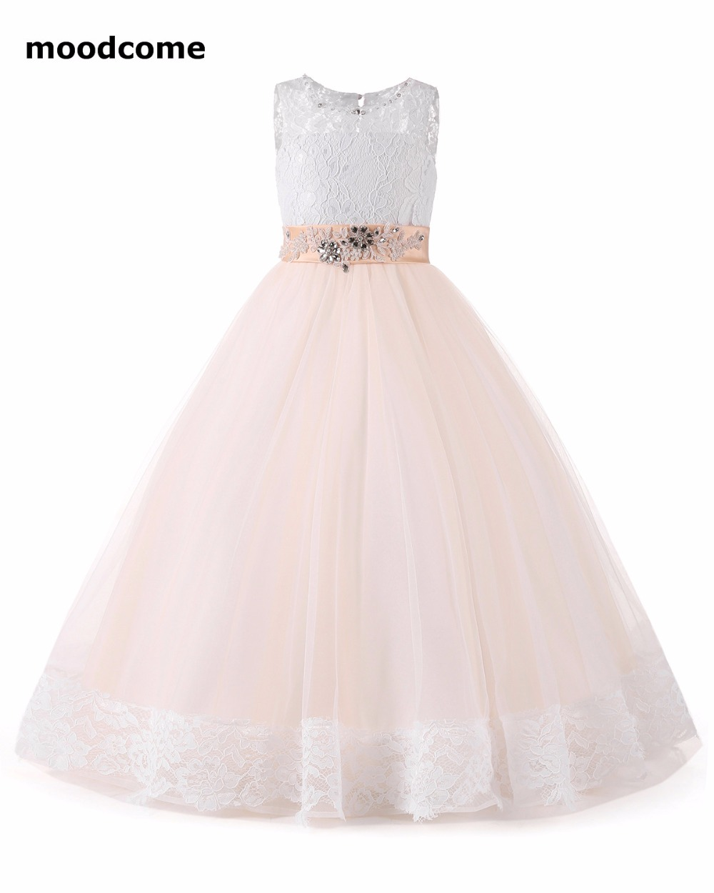 2018 New Cheap Flower Girl Dresses Floor Length Tulle Applique Sash