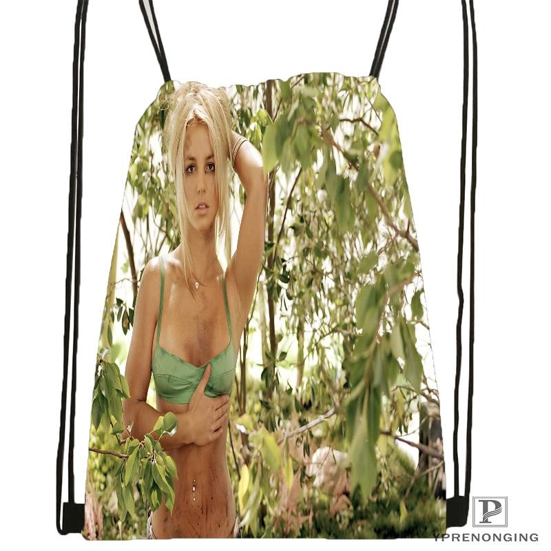 Custom Britney-Spears-American-  Drawstring Backpack Bag Cute Daypack Kids Satchel (Black Back) 31x40cm#20180611-02-72